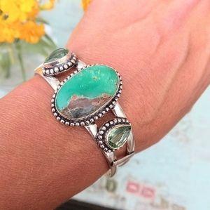 Aquaprase & Peridot Sterling Silver Cuff Bracelet